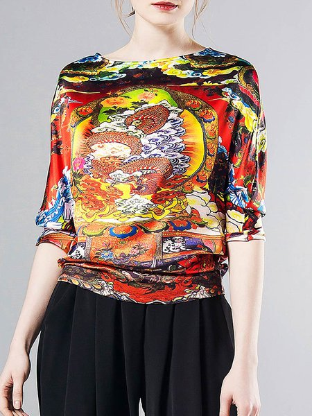 Multicolor Vintage Silk Printed Long Sleeved Top
