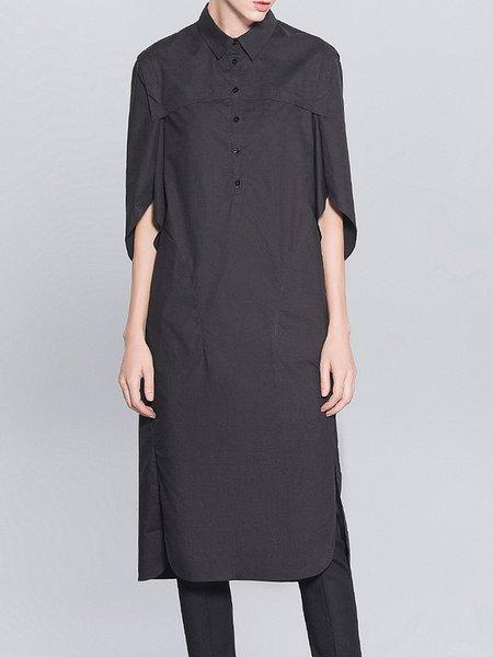 Black Simple Pockets H-line Plain Shirt Dress