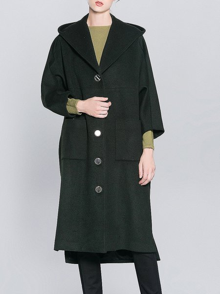 Dark Green Hoodie Asymmetric H-line Long Sleeve Coat