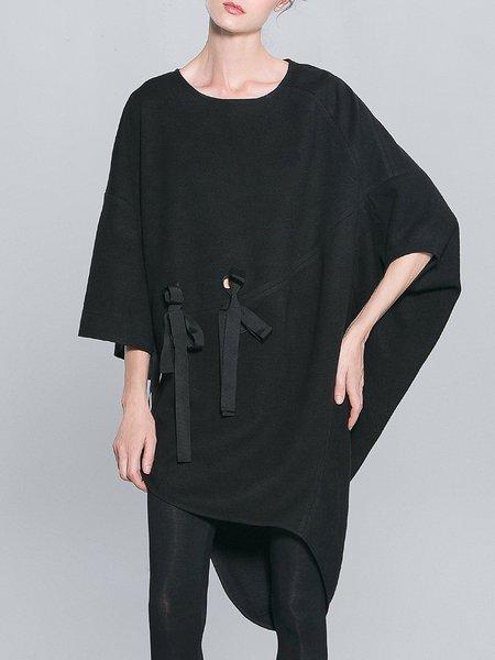 Black Wool Casual Asymmetrical Midi Dress