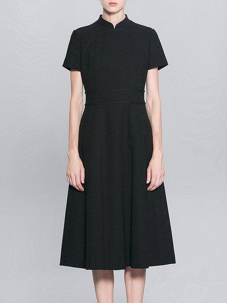Black Vintage Stand Collar A-line Midi Dress
