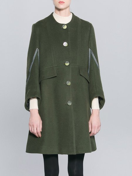 Green Embroidered Casual Wool Coat