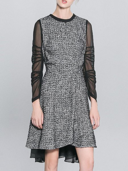 Black Long Sleeve Paneled Midi Dress