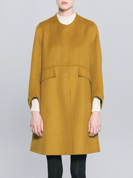 Yellow Pockets Casual Wool Coat