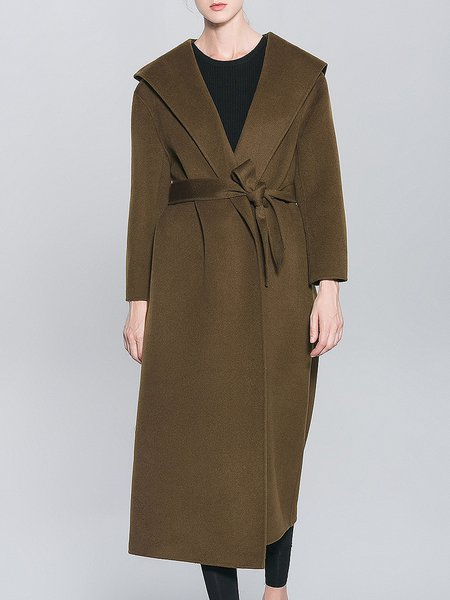 Army Green Casual Pockets Wool Coat