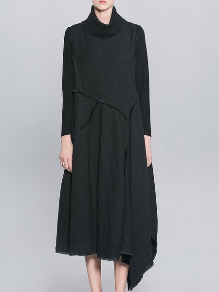 Black Long Sleeve Asymmetric Maxi Dress