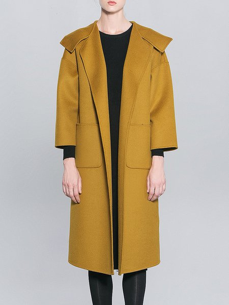 Yellow Pockets Hoodie Long Sleeve Coat