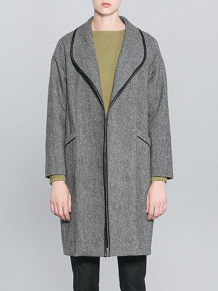 Gray Casual Binding H-line Wool Coat