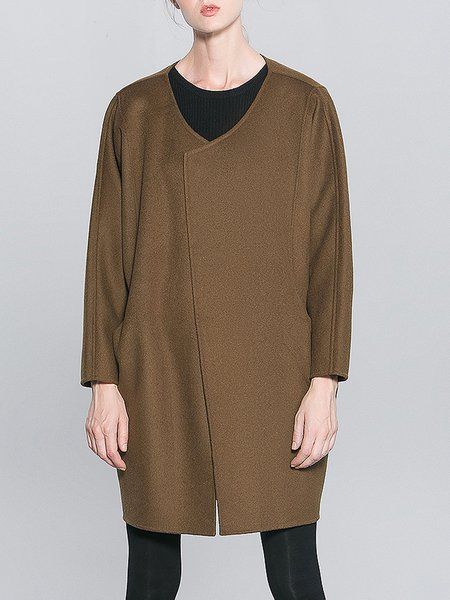 Army Green Plain Long Sleeve H-line Wool Coat
