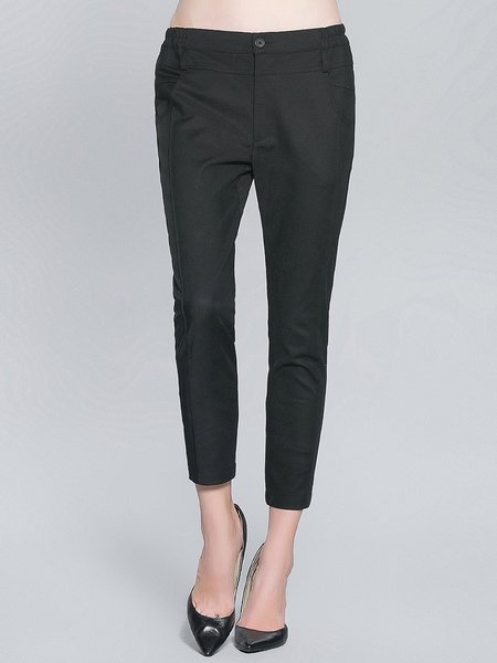 Black Pockets Casual Cropped Pants