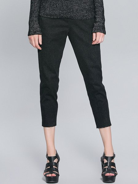 Black Plain Casual Pockets Cropped Pants