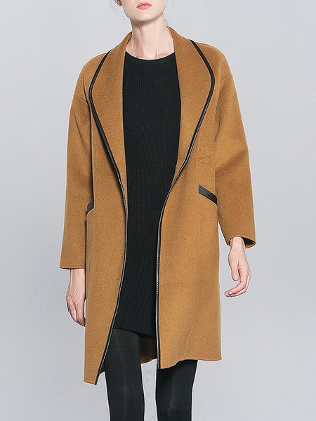 Camel H-line Binding Plain Wool Casual Coat