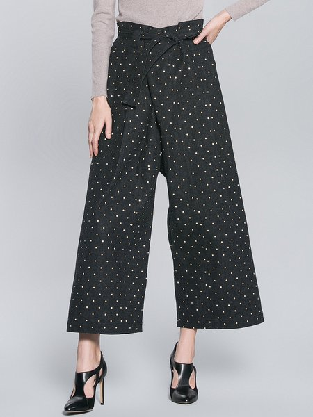 Black Casual Polka Dots Wide Leg Pants