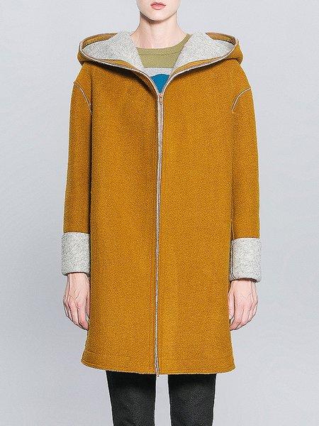 Yellow Hoodie Casual Coat