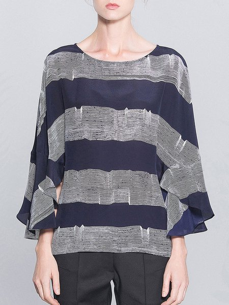 Blue Ruffled Casual Silk H-line Color-block Blouse
