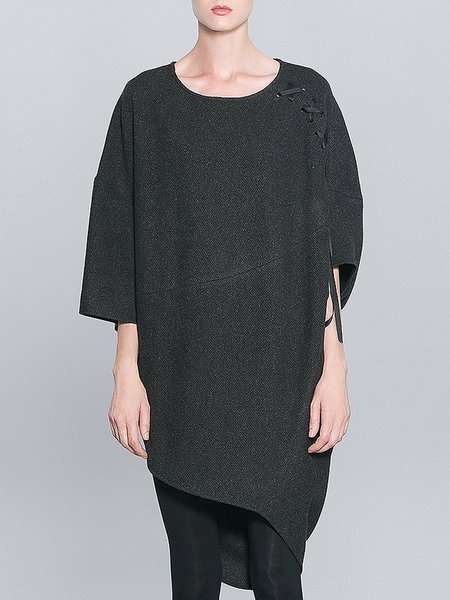 Black Asymmetric Casual Crew Neck Midi Dress