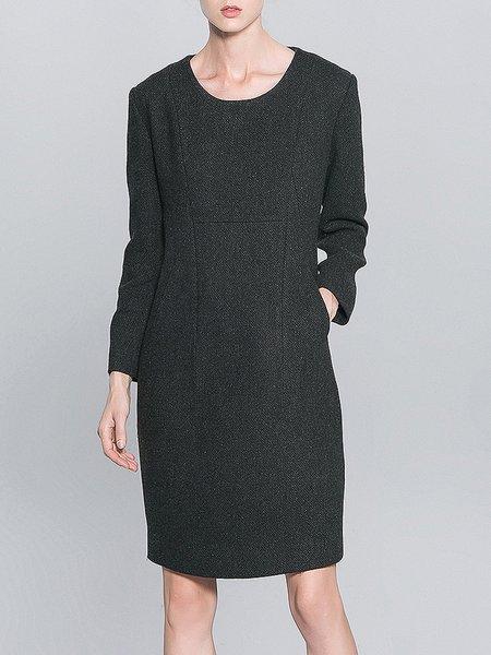 Black Long Sleeve Pockets Mini Dress