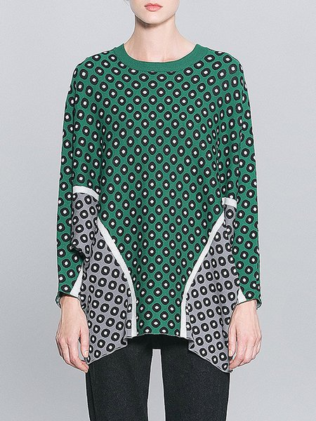 Polka Dots Casual Batwing Knitted H-line Sweater