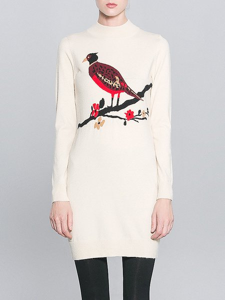 Beige Stand Collar Long Sleeve Printed Sweater Dress