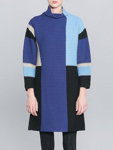 Blue Casual Turtleneck Color-block Sweater