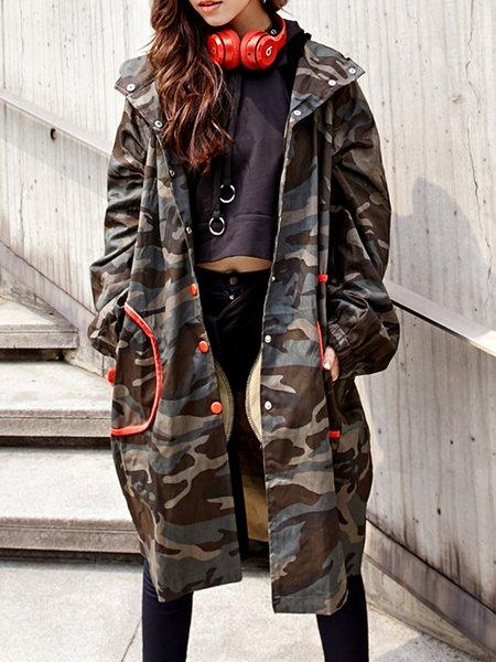 Multicolor Hoodie Casual H-line Coat