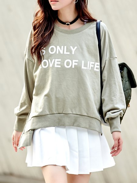 Light Green High Low Casual Letter Sweatshirt