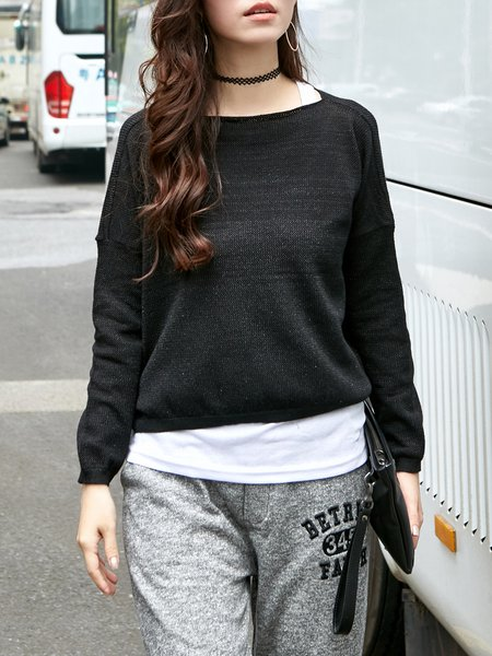Black Knitted Casual H-line Sweater