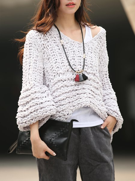 Light Purple Knitted Long Sleeve V Neck Sweater
