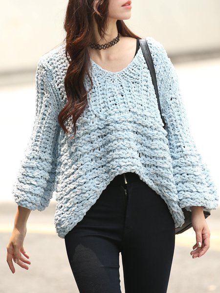Blue Knitted Casual V Neck Plain Sweater