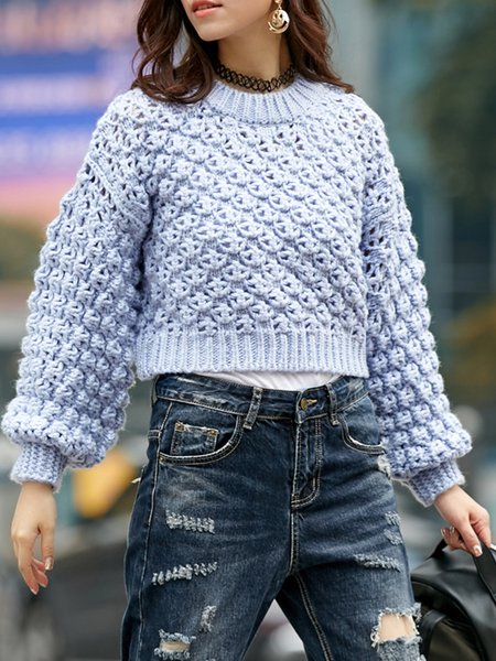 Blue Casual Stand Collar Pierced H-line Sweater