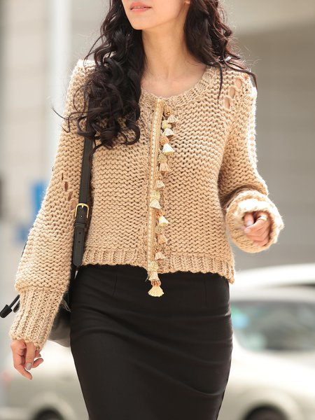 Apricot H-line Pierced Long Sleeve Cropped Sweater