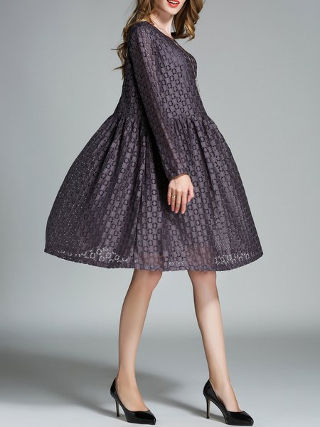 Guipure Lace Pierced Casual Cotton A-line Midi Dress - StyleWe.com