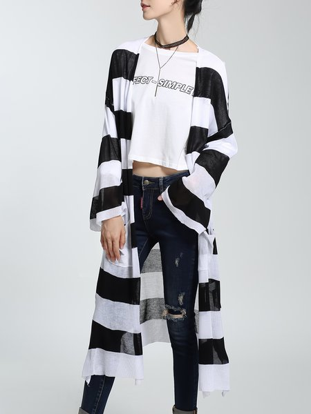 Black Knitted Stripes Color-block Casual Cardigan