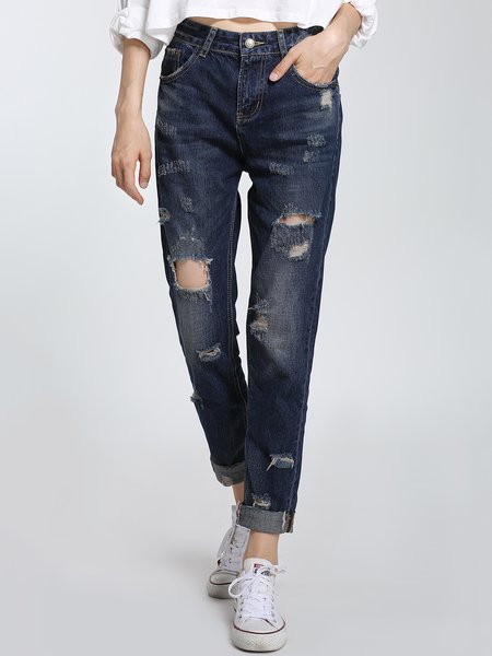Dark Blue Plain Cutout Statement Jeans
