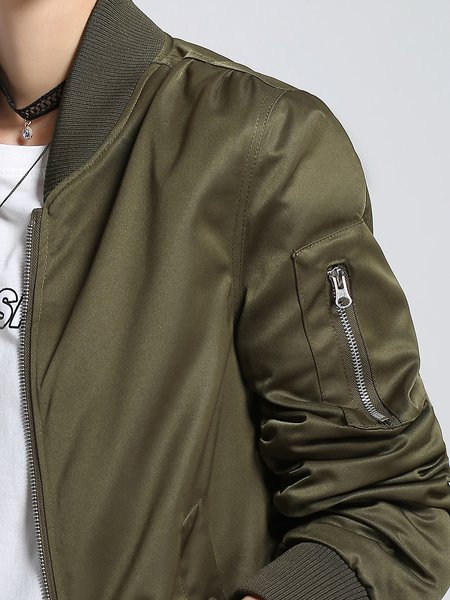 Dark Green Casual Plain Bomber Jacket - StyleWe.com