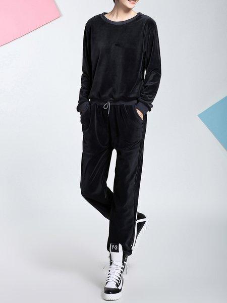 Multicolor Plain Two Piece Long Sleeve Jumpsuit