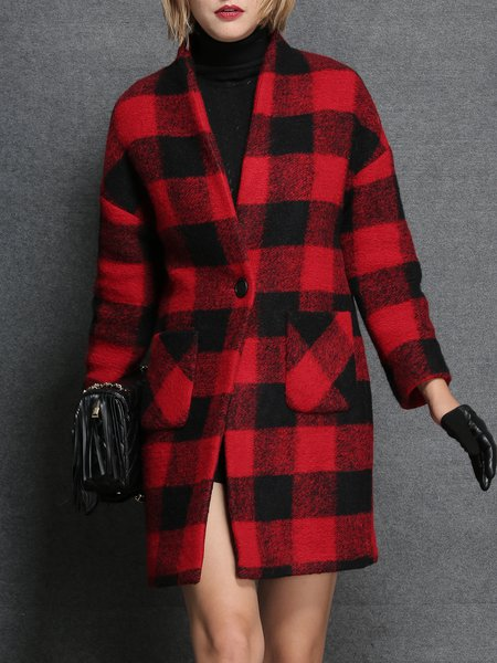 Red Checkered/Plaid Long Sleeve Pockets Coat