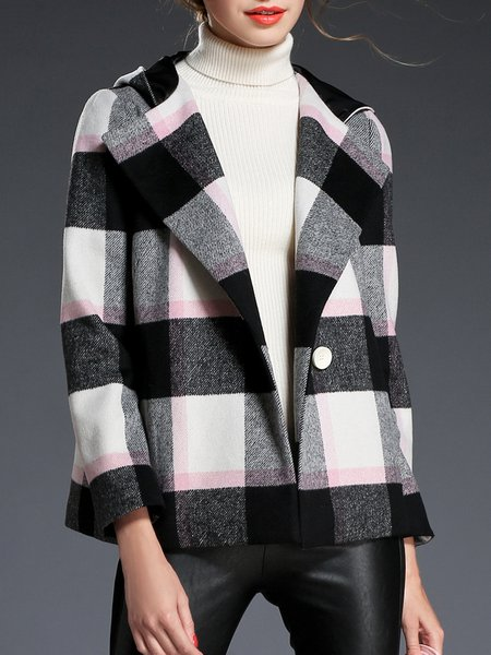 Black Hoodie Color-block Long Sleeve Wool Coat