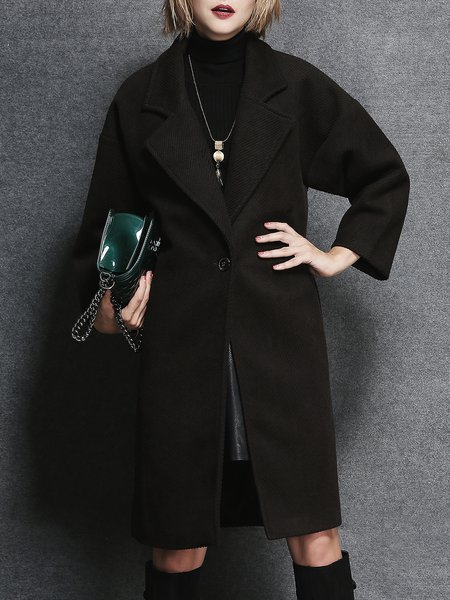 Coffee Plain Long Sleeve Lapel Coat
