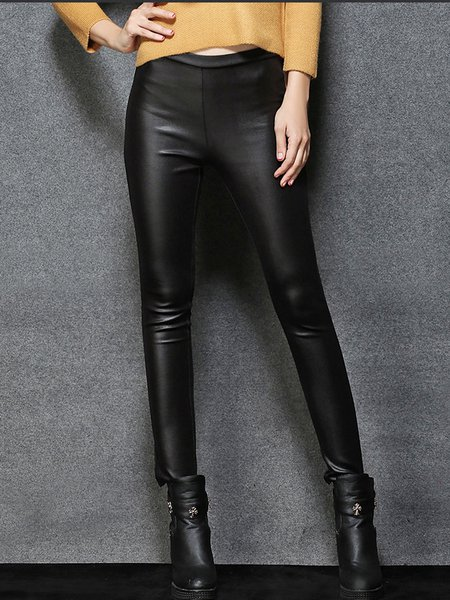 Black PU Casual Plain Leather Pants
