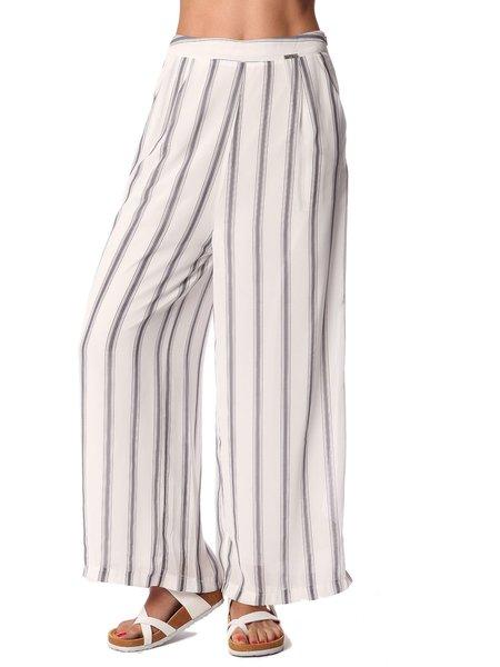 White Casual Stripes Wide Leg Pant