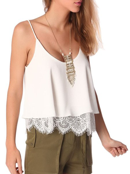White H-line Polyester Boho Tanks And Cami