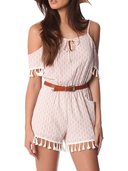 Short Sleeve Boho Fringed Polyester Abstract Romper