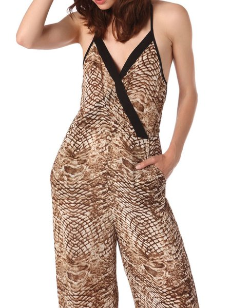 Brown Boho Polyester Jumpsuit