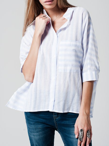 Blue Cotton Stripes Casual Pockets Blouse