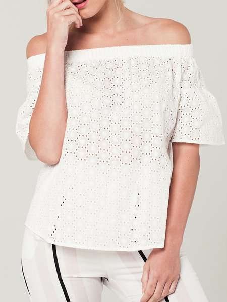 White Casual Off Shoulder Solid Eyelet Blouse