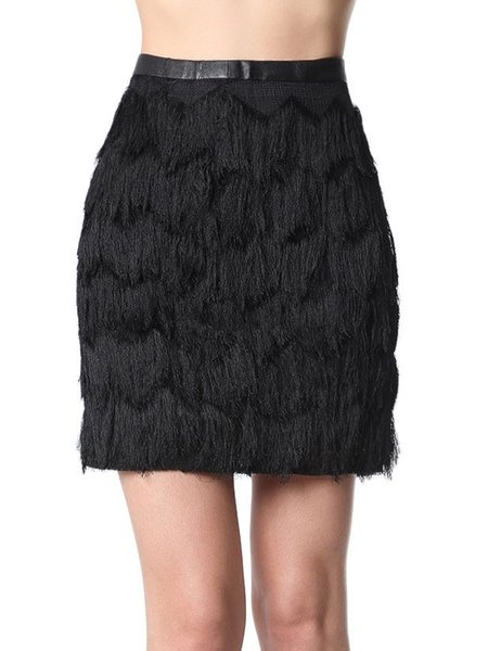 Black Polyester Fringed Elegant Sheath Mini Skirt