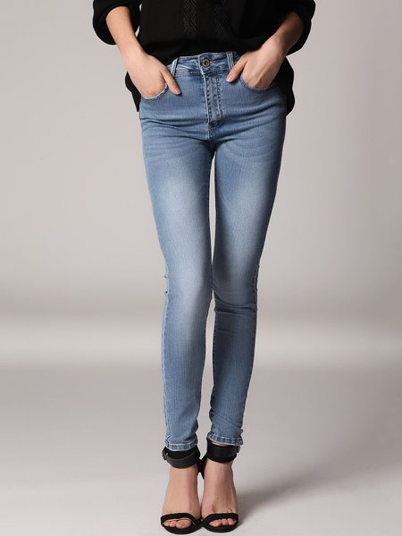 High Rise Jeans In Distressed Finish