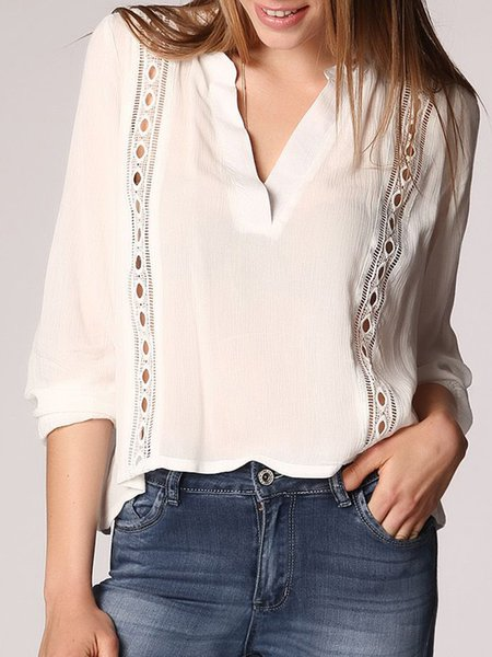 Cream Shirt Collar Polyester Pierced Boho Cropped Top