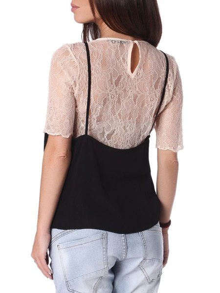 Beige Lace Casual Crew Neck Blouse - StyleWe.com